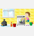 girl doing laundry in the room vector image