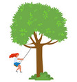 girl on rope swing hanging on tree branch vector image vector image