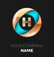 golden letter h logo symbol in blue-golden circle vector image