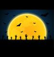 halloween zombie hand graveyard bat moon vector image vector image