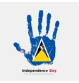 Handprint with the Flag of Saint Lucia in grunge vector image vector image