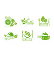 healthy natural product logos set green labels vector image vector image