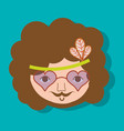 hippie face man with glasses vector image vector image