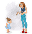 indignation of mother and daughter vector image vector image