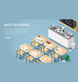isometric chemistry classroom landing page vector image