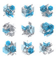 isometric linear abstract backgrounds lined vector image vector image