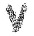 Letter V made from houses alphabet design vector image