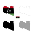 libya country black silhouette and with flag vector image vector image