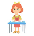 little caucasian girl playing the piano vector image