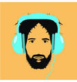 man dj with blue headphones icon vector image vector image