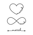 march - word with infinity symbol hand drawn vector image vector image