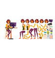 office worker woman animated elements vector image vector image