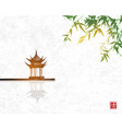 pagoda temlple over water surface and green vector image vector image