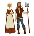 peasants family man and woman medieval isolated vector image vector image