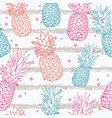 pineapple on grunge stripes summer colorful vector image vector image