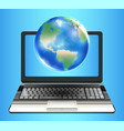 planet earth globe floating on laptop computer vector image vector image