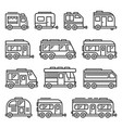 recreational vehicles rv camper vans icons set on vector image