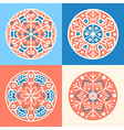 Set of four decorative round patterned elements vector image