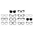 set of glasses in different frames black glasses vector image