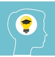 Silhouette head boy idea cap graduation education vector image