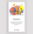 startup conference with new ideas announcement app vector image vector image