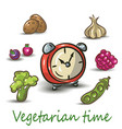 vegetarian time on white background vector image vector image