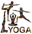 yoga background with silhouettes ornate vector image vector image