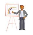 businessman explaining charts vector image