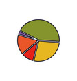 pie chart colorful silhouette with thick contour vector image