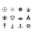 Silhouette future spacecraft icons vector image