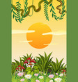 a sunset nature template vector image