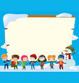 border template with children in winter vector image vector image