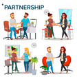 business partnership set business man and vector image