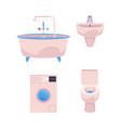 cartoon bathroom appliances set vector image