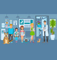 cartoon people with ill pets sit at reception vector image vector image