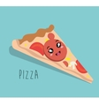 cartoon pizza food fast facial expression design vector image