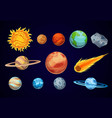 cartoon solar system planets astronomical vector image vector image