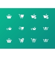 Checkout icons on green background vector image vector image