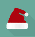 christmas hat in a flat style icon vector image vector image