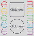 Click here sign icon Press button Set of colored vector image vector image