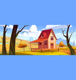 cottage in autumn forest landscape wooden house vector image vector image