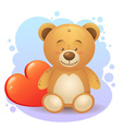 Cute teddy bear children toy with heart vector image vector image