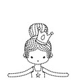 dotted shape girl dancing ballet with bun hair and vector image vector image
