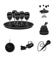 event organisation black icons in set collection vector image