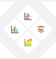 flat icon diagram set of chart statistic diagram vector image