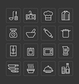 flat icons set of kitchen cooking tools vector image vector image