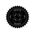 flat retro round skateboard logo vector image