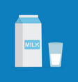 flat style of milk packing and a glass of milk on vector image