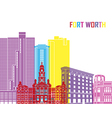 Fort Worth skyline pop vector image vector image