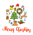 Greeting Card design with various xmas ornaments vector image